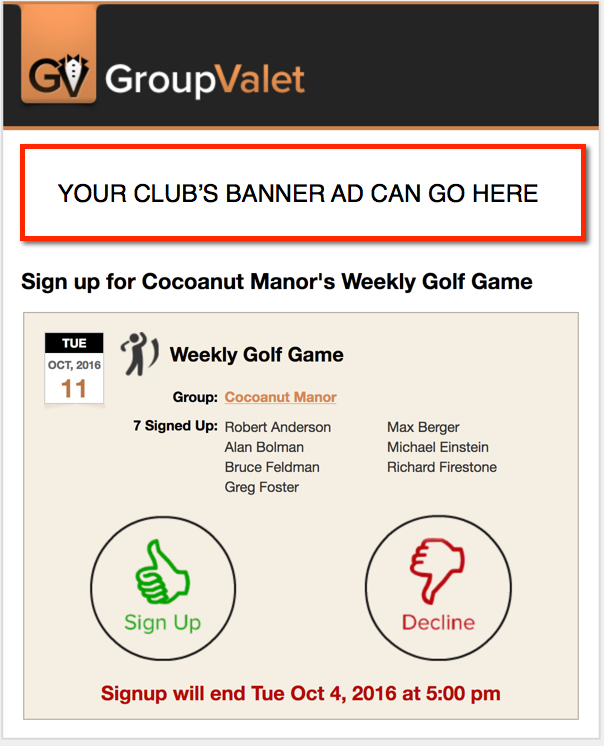 Your banner ads go in GroupValet emails